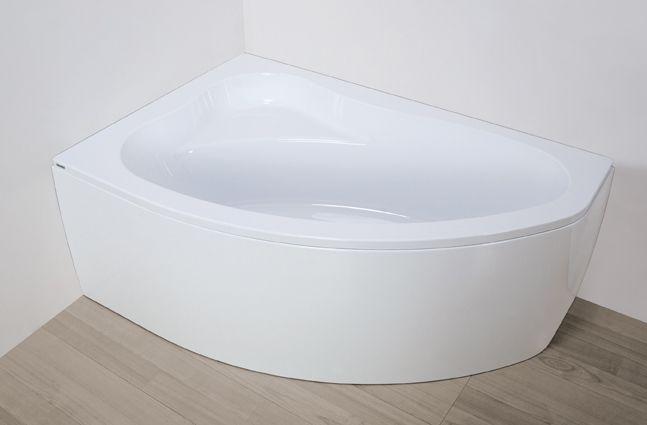 Plazan Ekoplus badkuip met paneel 150x100cm wit links inclusief potenset