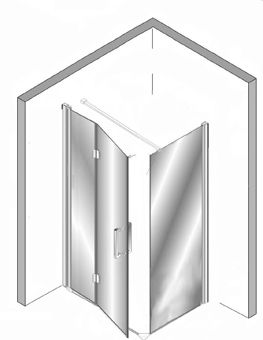 Plieger Panorama douchewand + vouwdeur 90 + 80x200cm incl. muursteun vierkant 100cm en vloerprofiel chroom