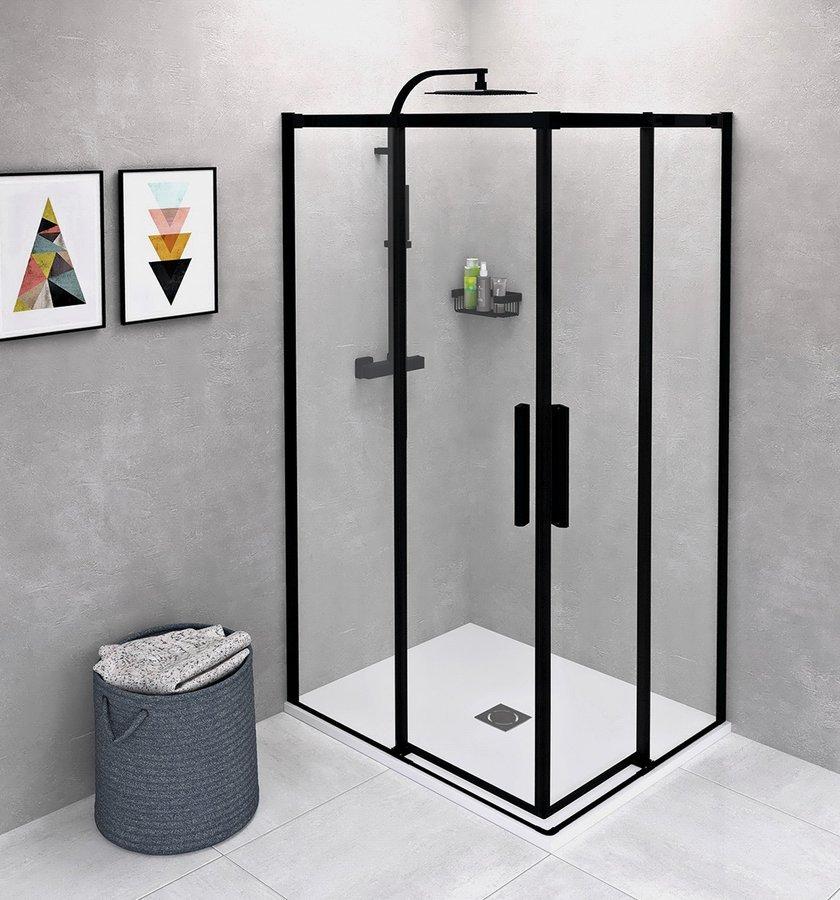 Productafbeelding van Polysan Altis douchecabine 90x80cm mat zwart
