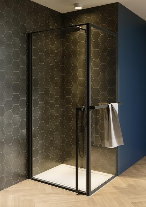 Productafbeelding van Riho Lucid GD201 douchecabine 100x90cm mat zwart