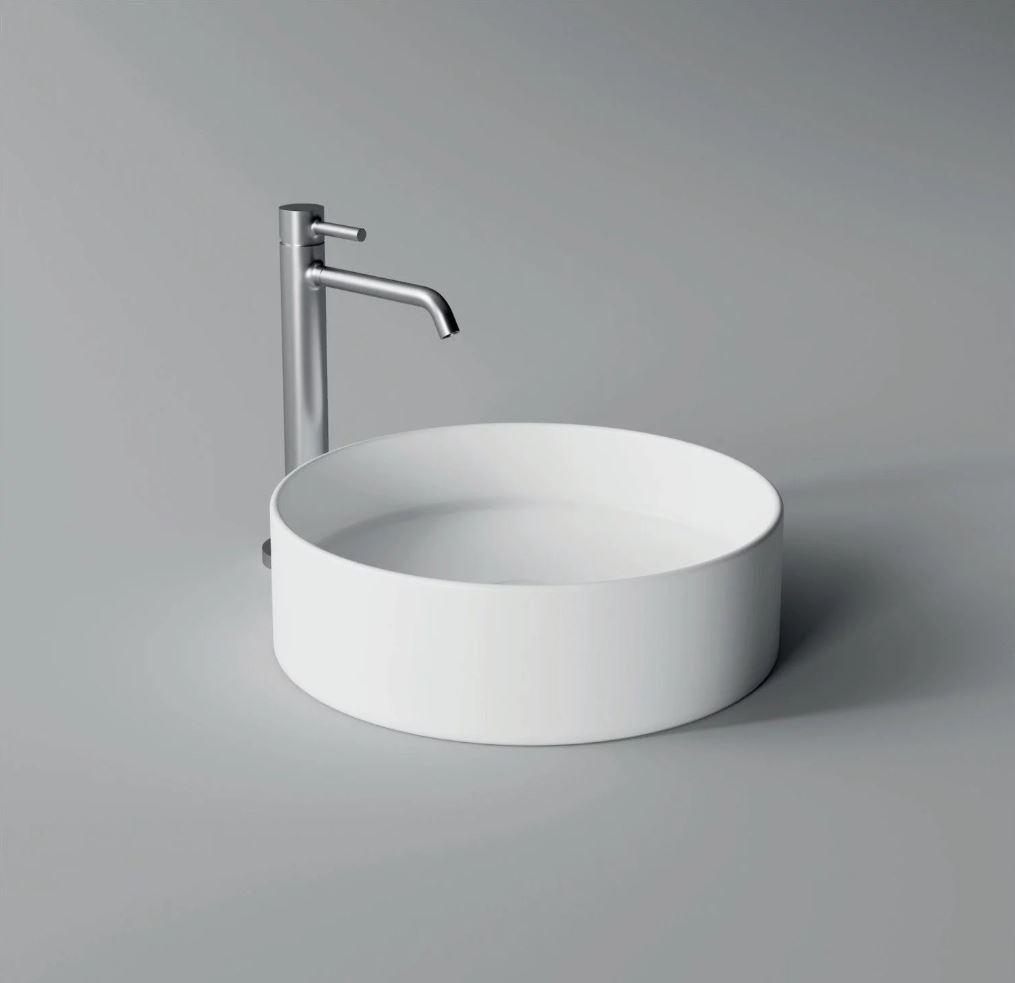 Productafbeelding van Opbouw Wastafel Salenzi Hide Circle 40x12 cm Mat Wit (inclusief bijpassende afvoerplug)