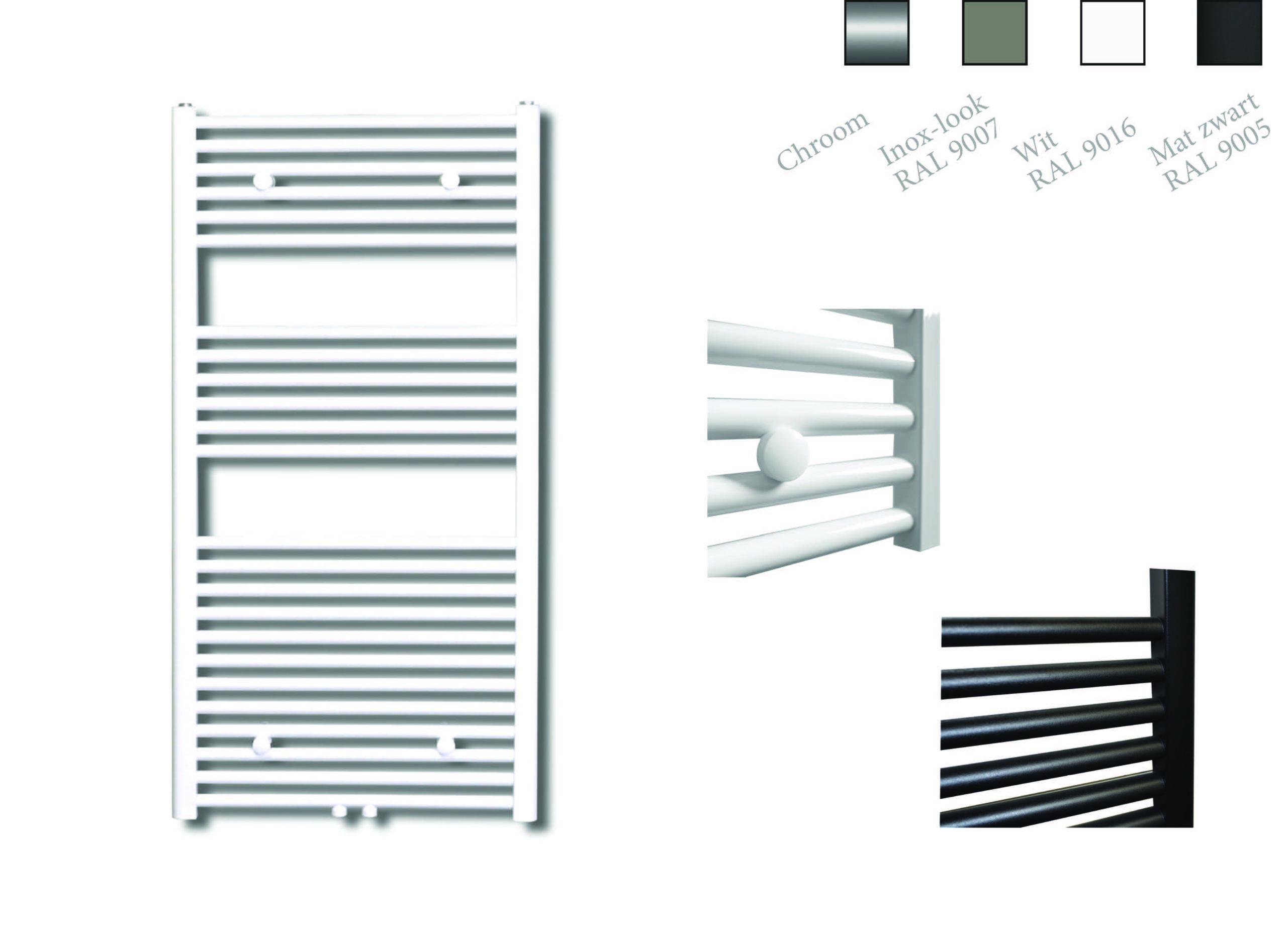 Sanicare design radiator midden aansluiting recht 120 x 45 cm. wit