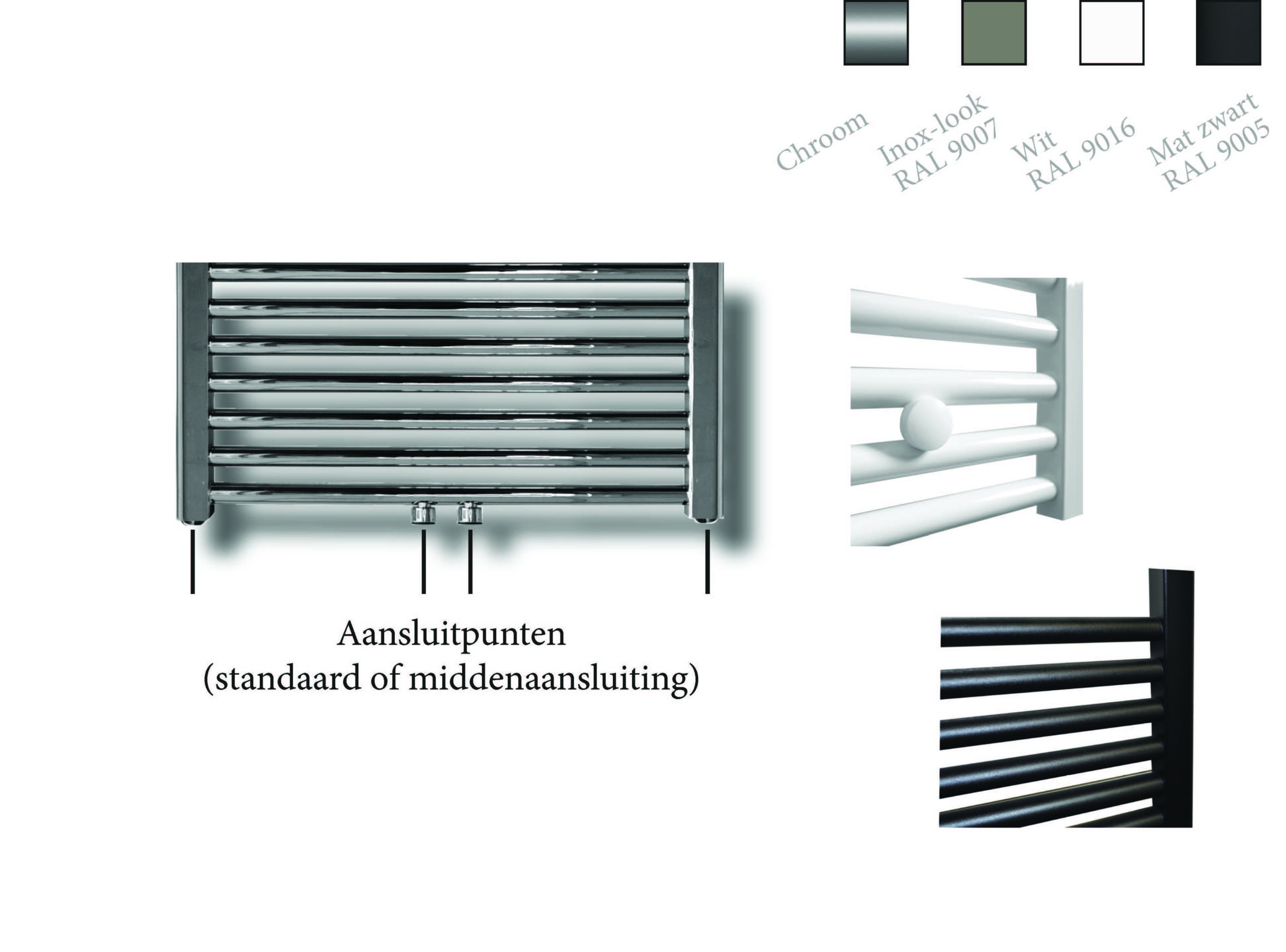 Sanicare design radiator midden aansluiting recht 160 x 60 cm. chroom