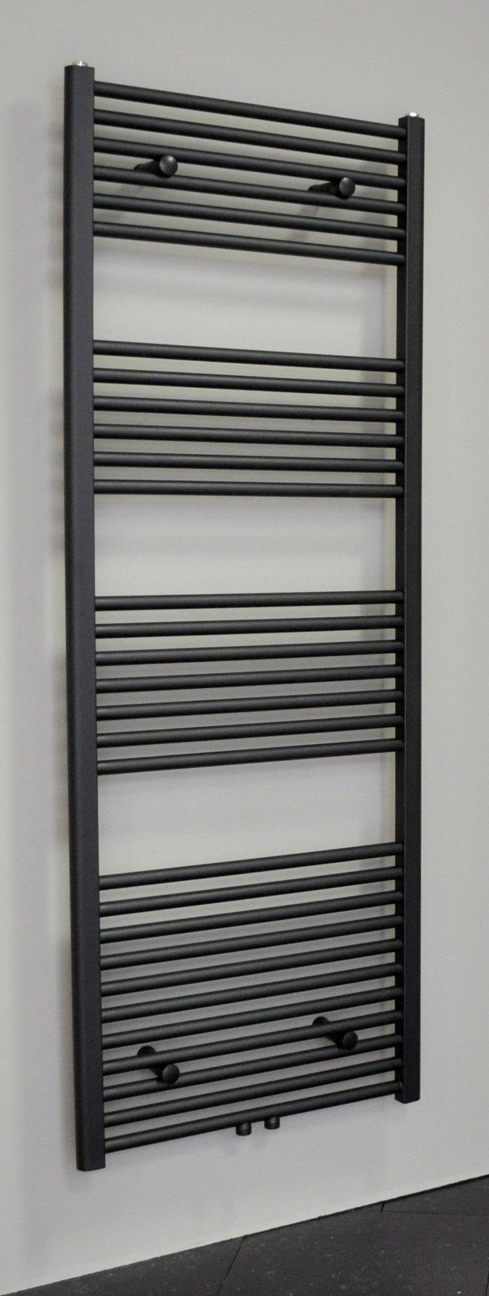 Sanicare design radiator midden aansluiting recht 160 x 60 cm. mat zwart