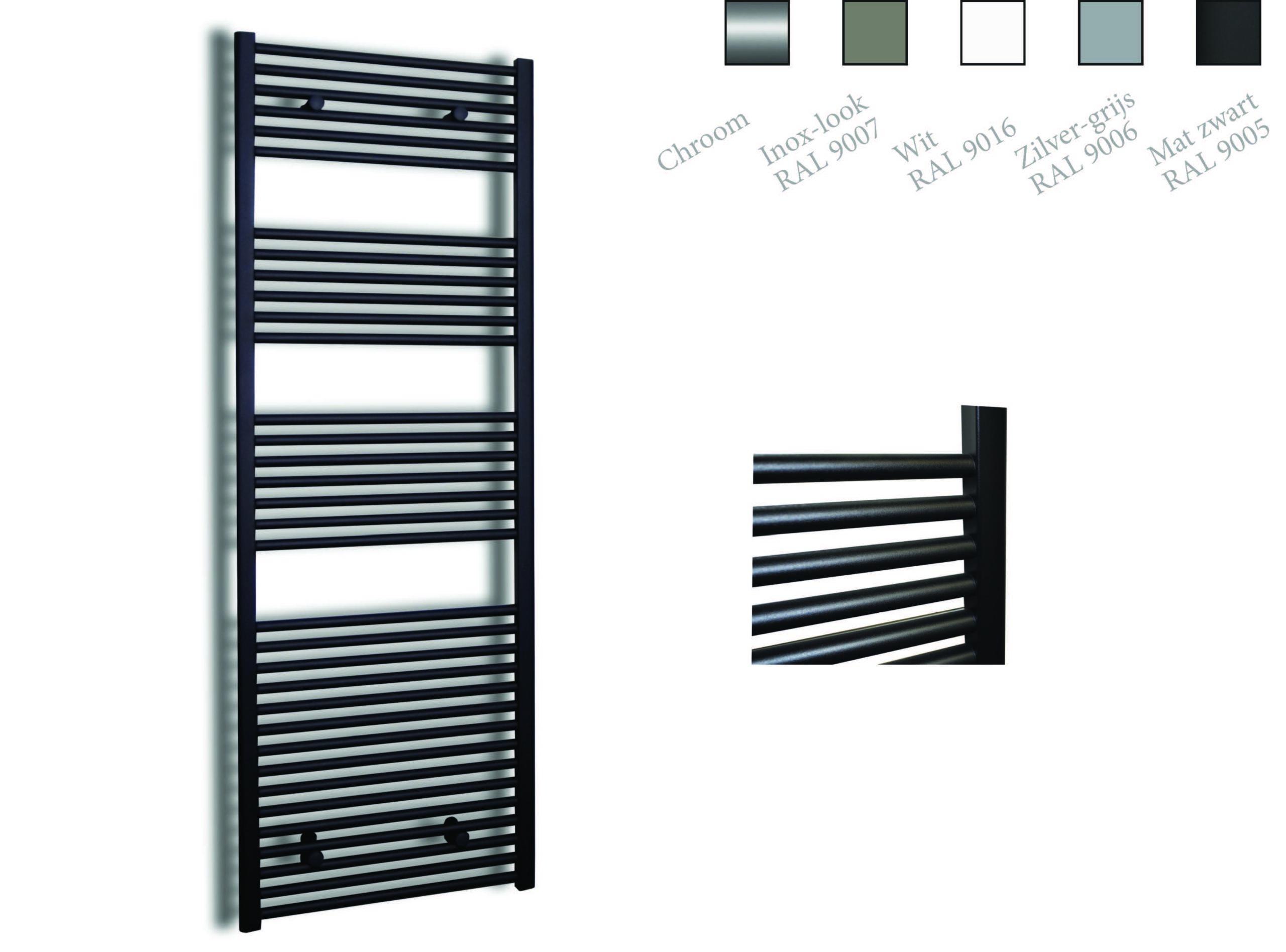 Sanicare design radiator recht 172 x 45 cm. mat zwart