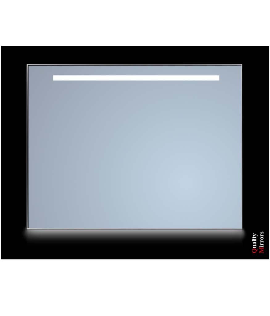 Sanicare Spiegel met 1 x horizontale strook Ambiance licht onder Cold White Leds 100 cm. omlijsting zwart