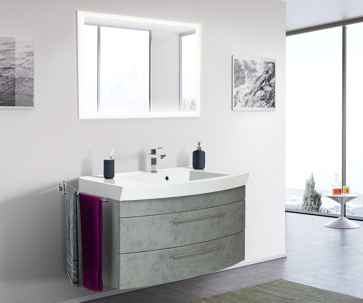 Saniclear Bella halfrond badmeubel 100cm met LED spiegel beton grijs