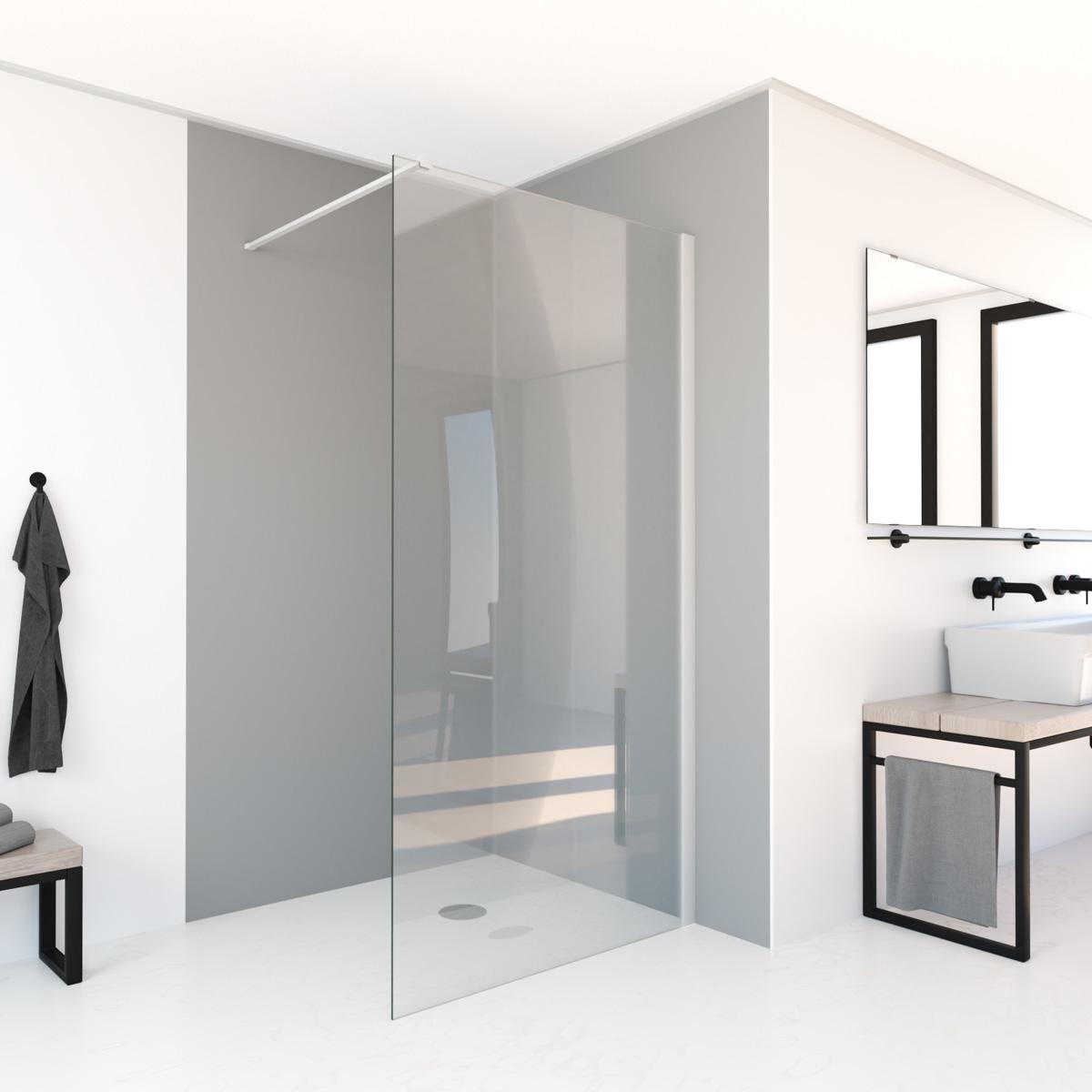 Saniclear Bianco inloopdouche mat wit 90x200cm anti-kalk coating