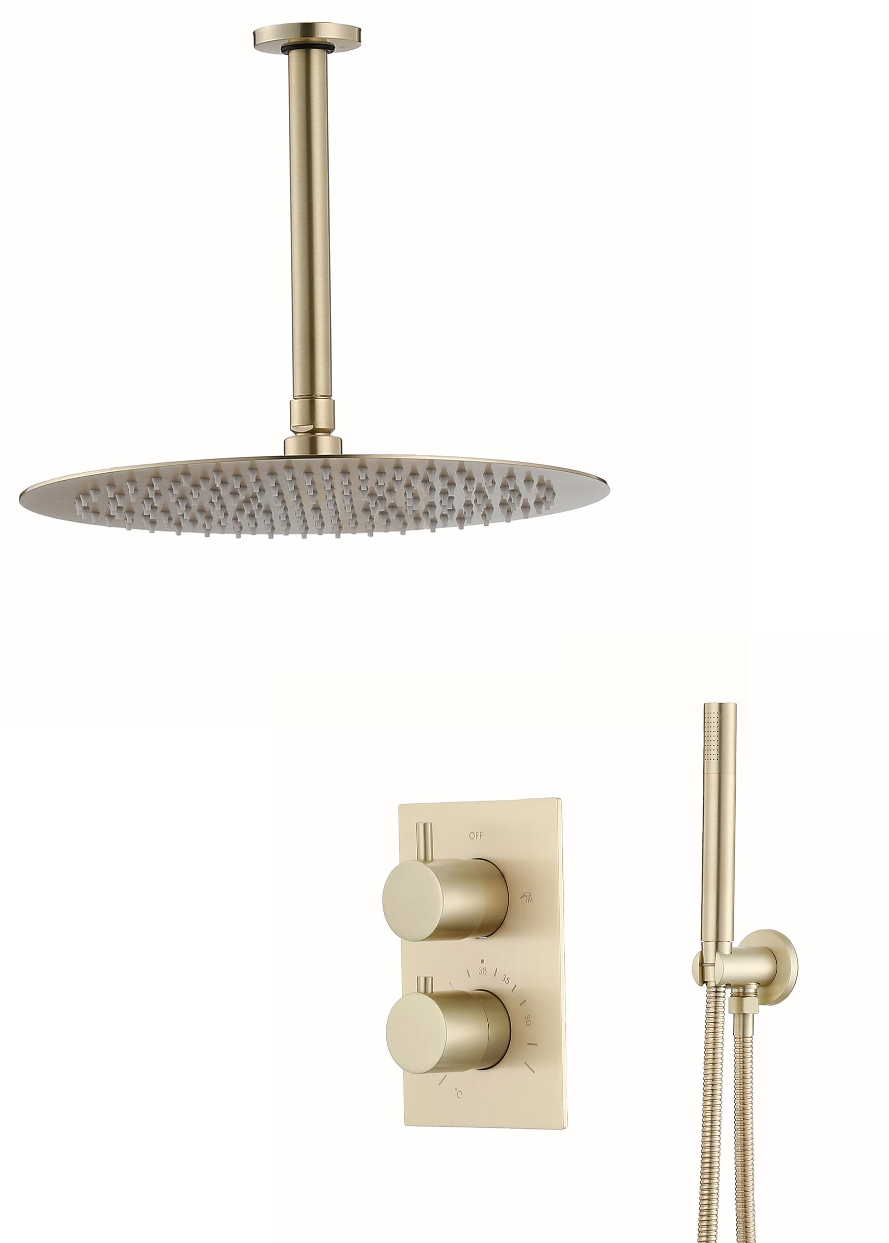 Saniclear Brass inbouw regendouche met plafondarm en 30cm hoofddouche geborsteld messing - mat goud