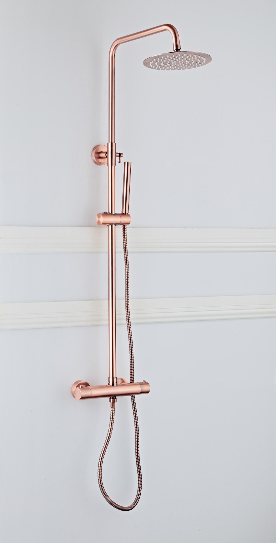 Saniclear Copper complete opbouw 20cm regendouche met thermostaatkraan geborsteld koper