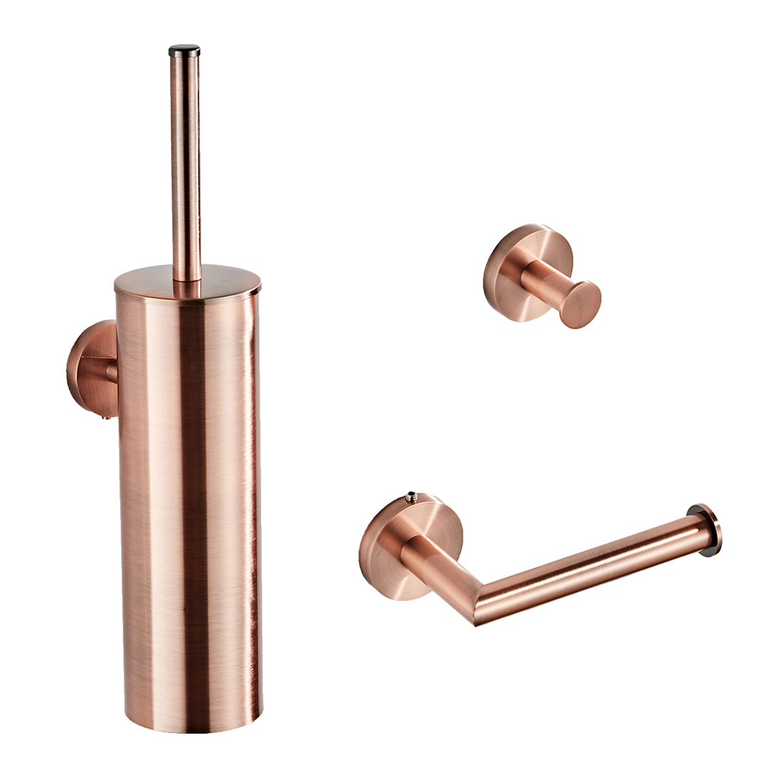 Saniclear Copper koperkleurig toilet accessoire set incl toiletborstel, rolhouder en haak