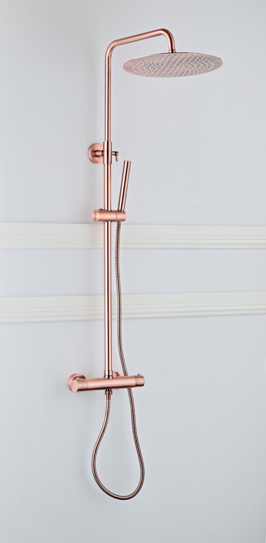 Saniclear Copper opbouw regendouche 30cm met thermostaatkraan en staafhanddouche koperkleurig