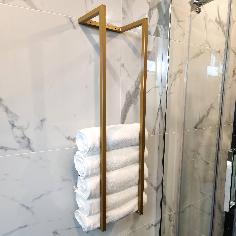 Saniclear handdoekenrek industrieel 95x25x20cm mat goud