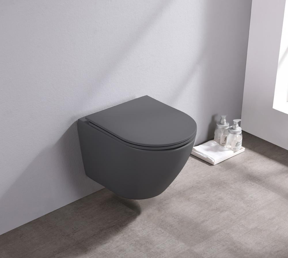 Saniclear Itsie mat antraciete toiletpot randloos met softclose zitting