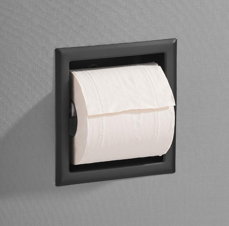 Saniclear Nero inbouw toiletrol houder zonder klep mat zwart