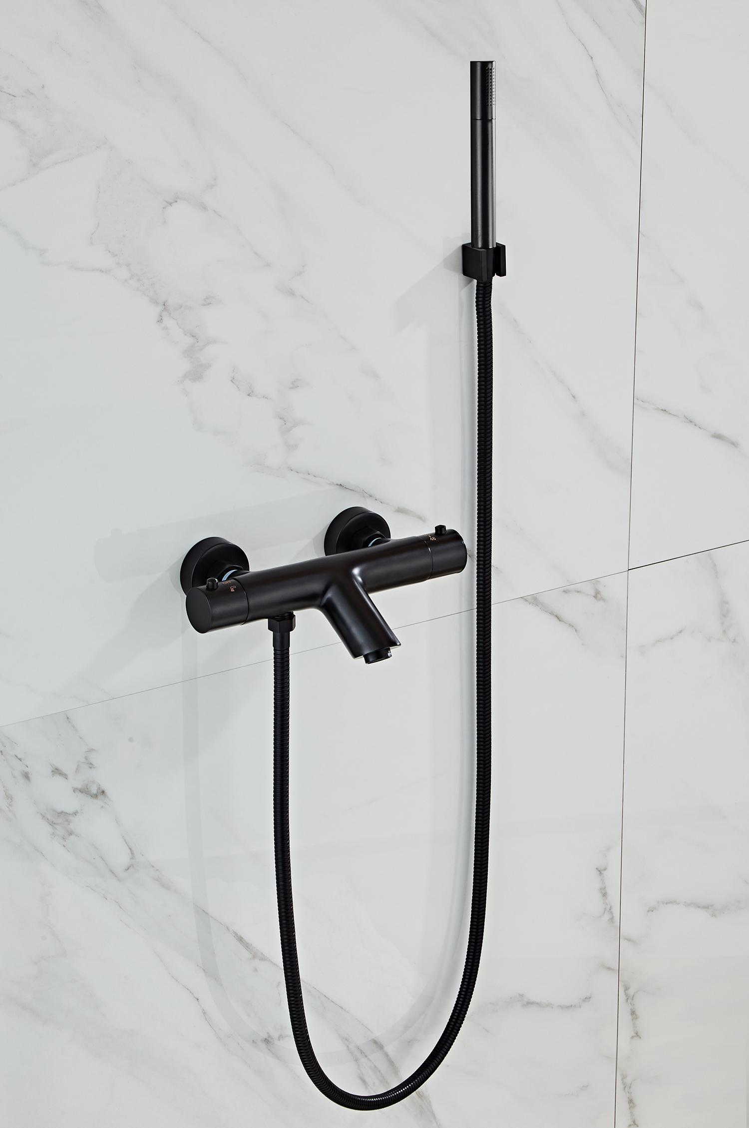 Saniclear Nero mat zwarte badkraan thermostatisch met handdouche set