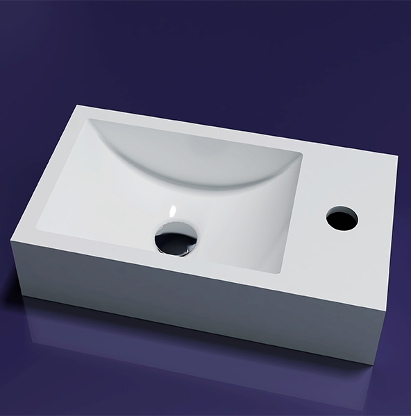 Lambini Designs Recto solid surface fontein 40x22x10cm rechts