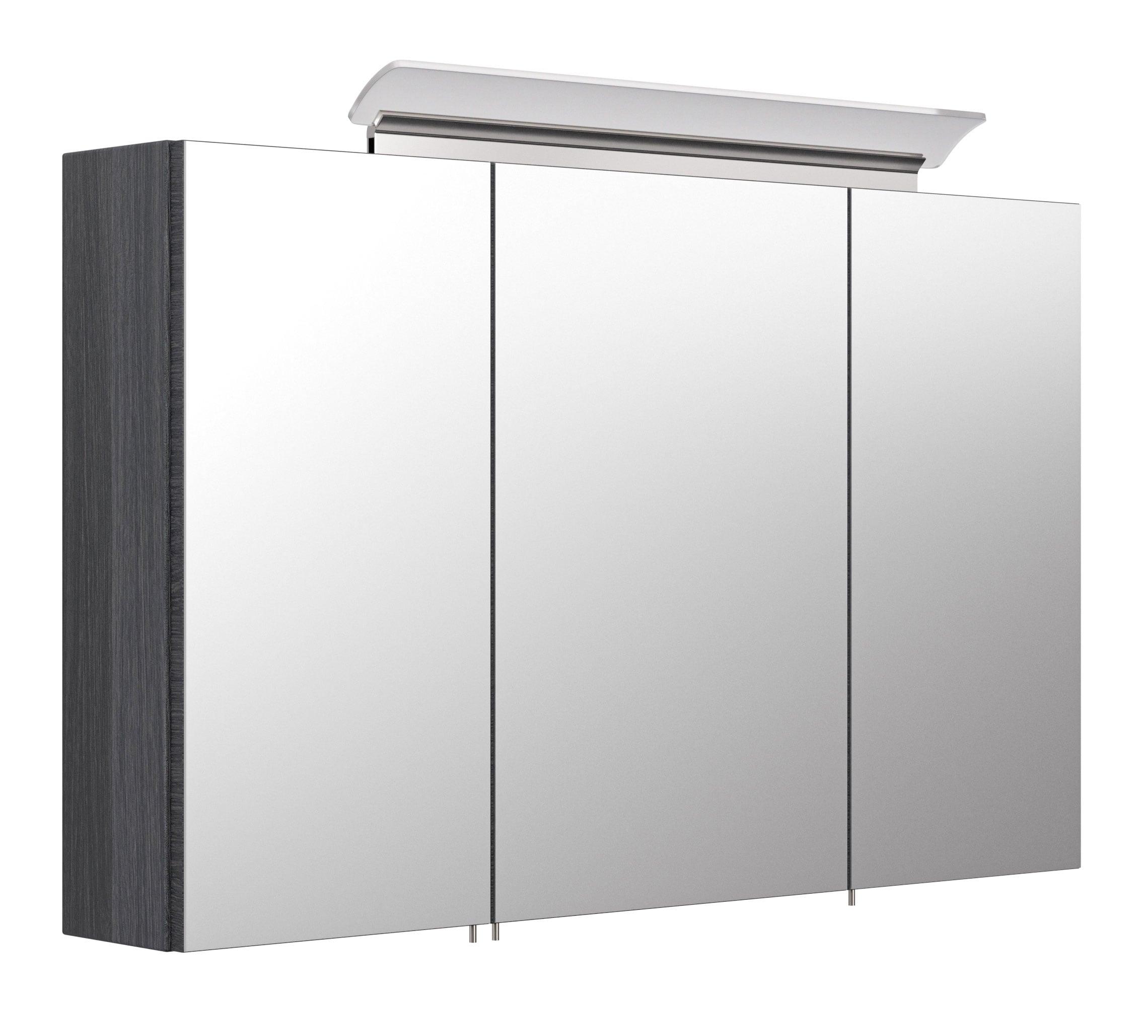 Saniclear Rocky 100cm spiegelkast met design LED verlichting antraciet eiken