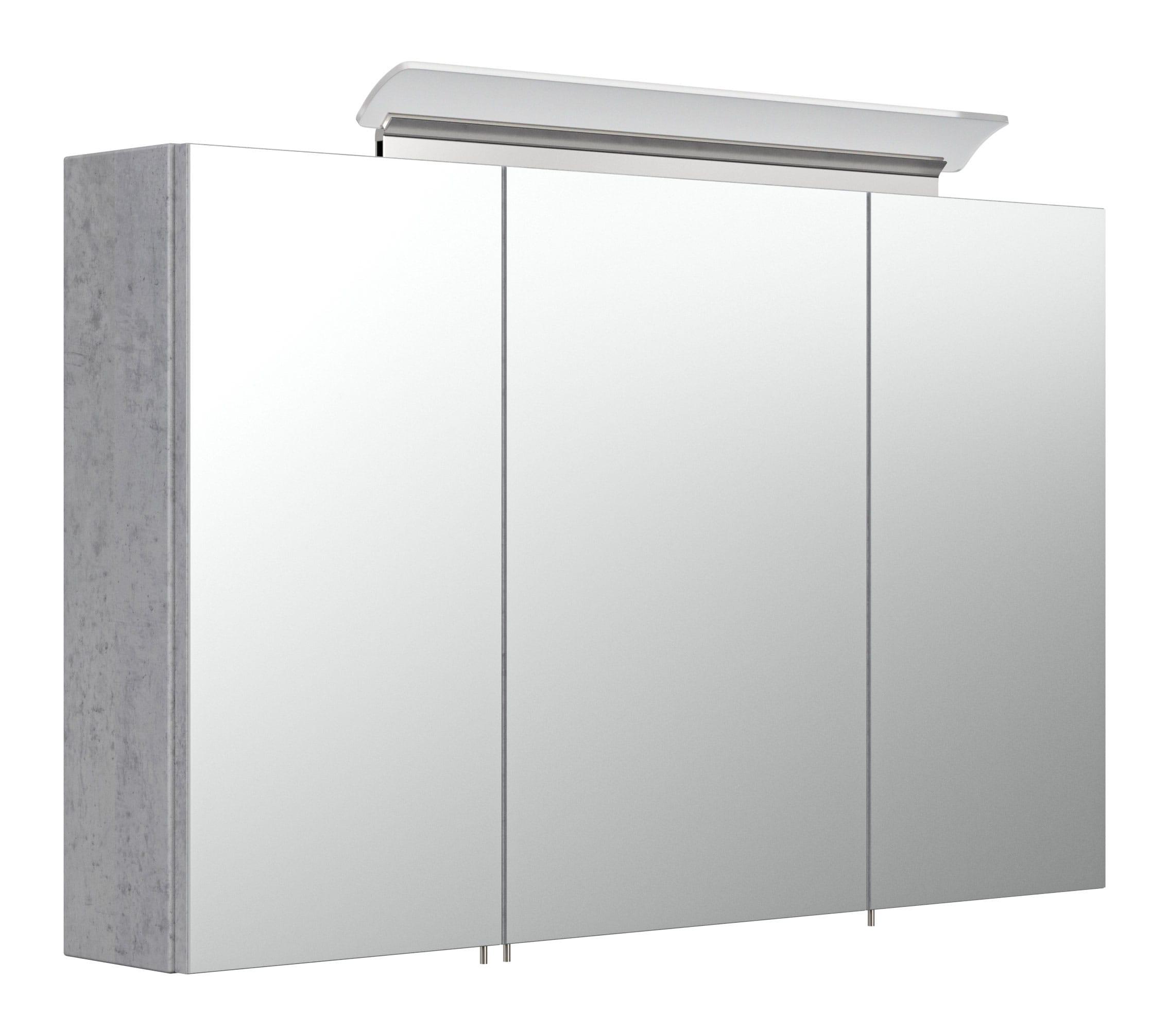 Saniclear Rocky 100cm spiegelkast met design LED verlichting beton grijs