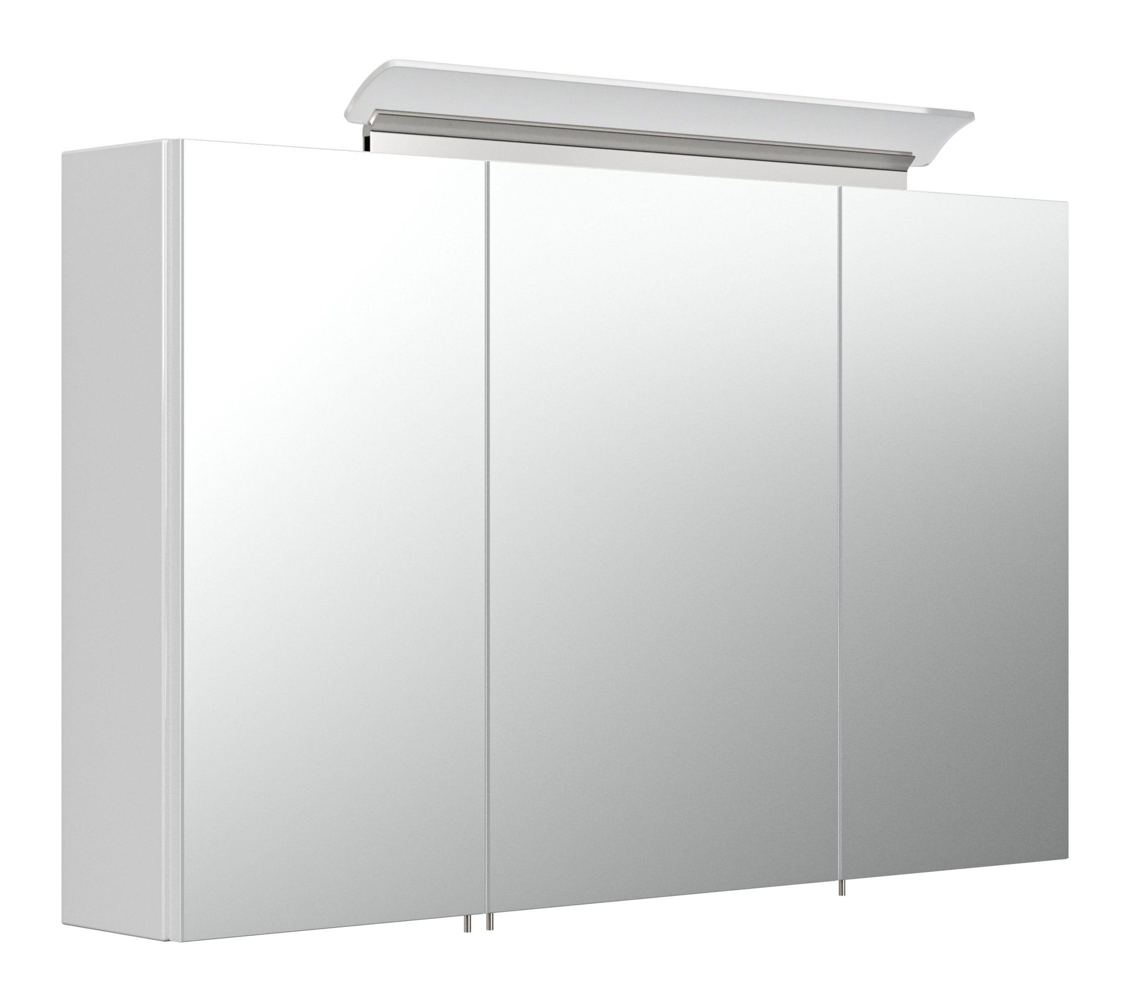 Saniclear Rocky 100cm spiegelkast met design LED verlichting glans wit