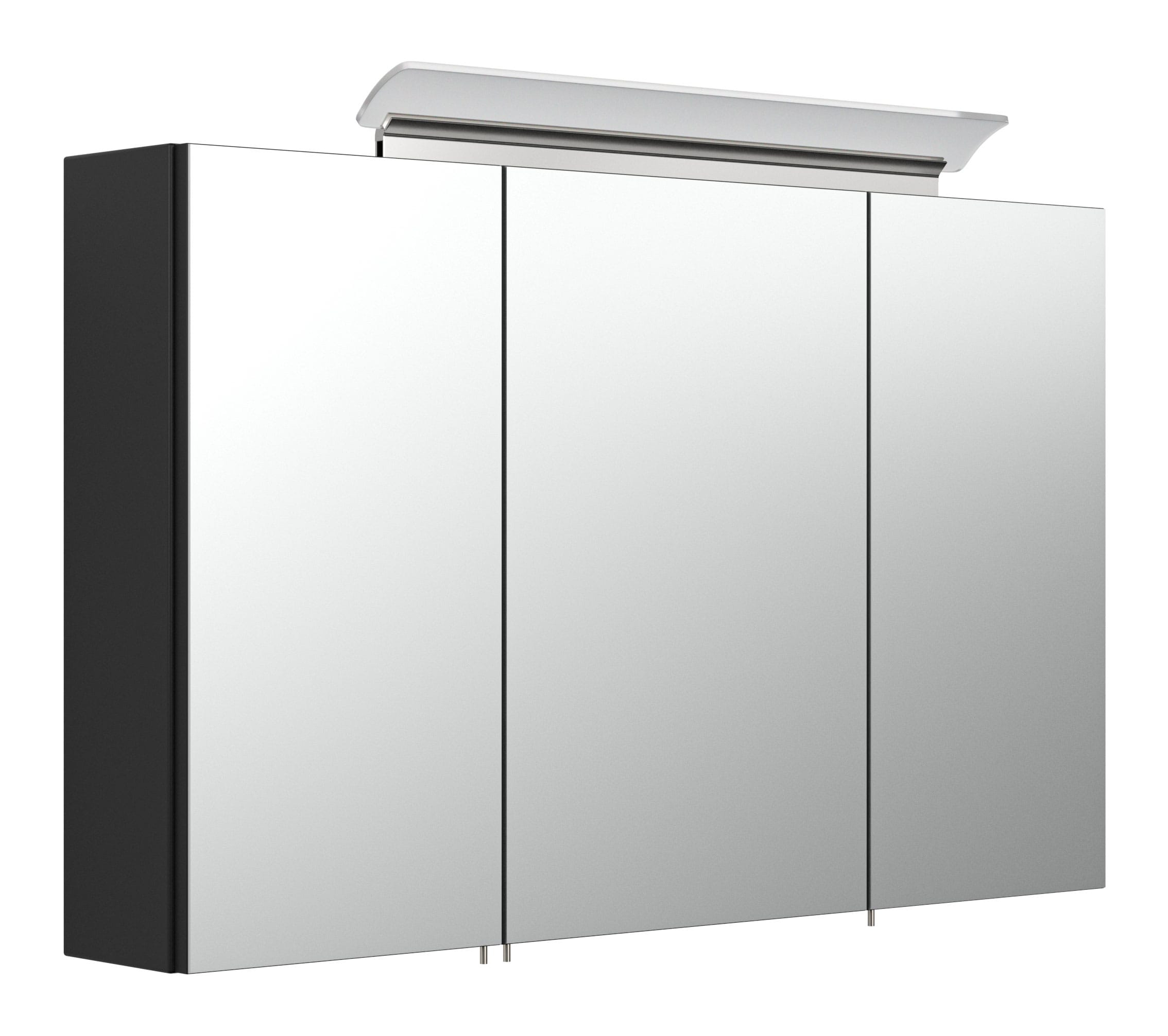 Saniclear Rocky 100cm spiegelkast met design LED verlichting glans zwart