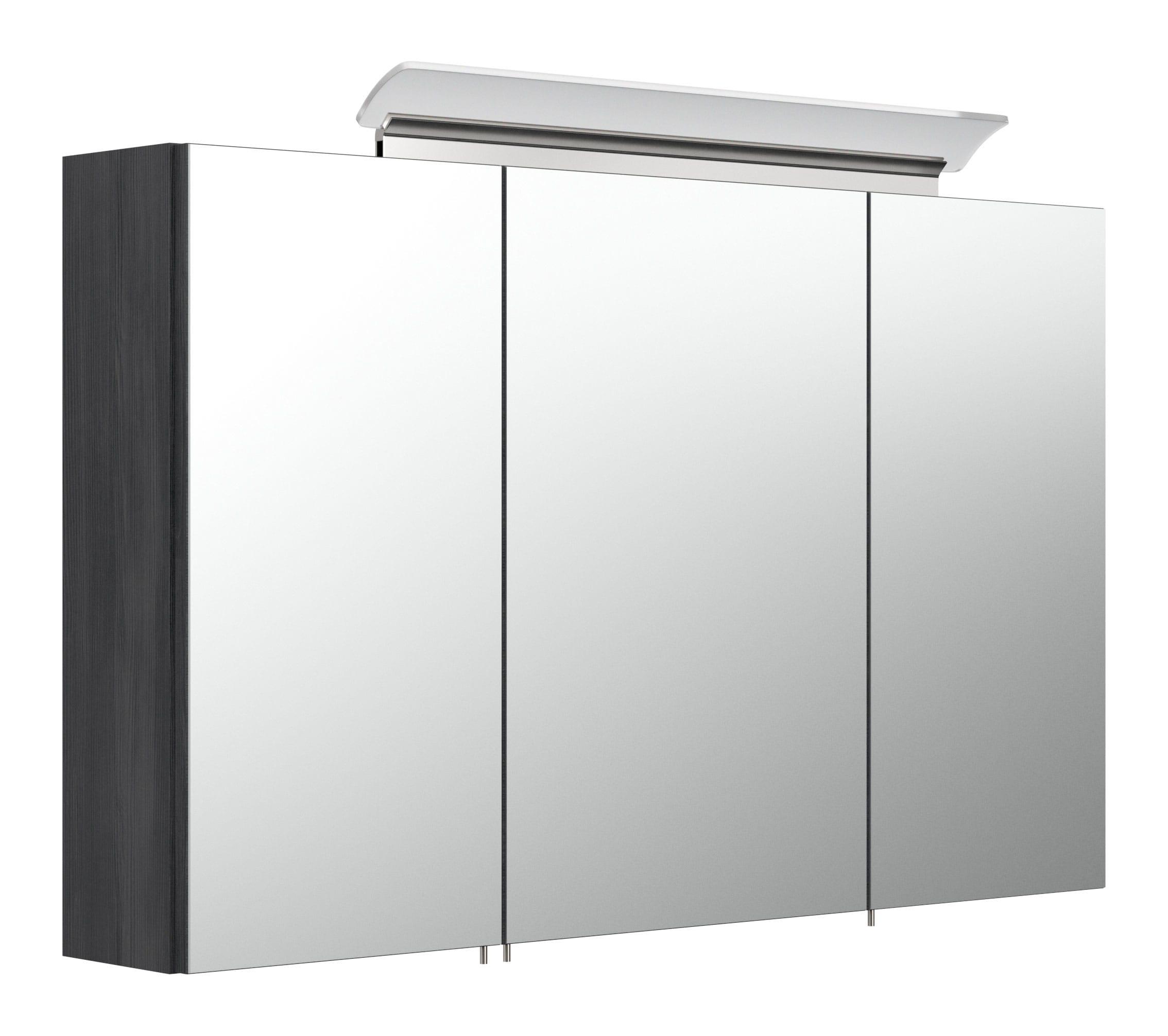 Saniclear Rocky 100cm spiegelkast met design LED verlichting grafiet