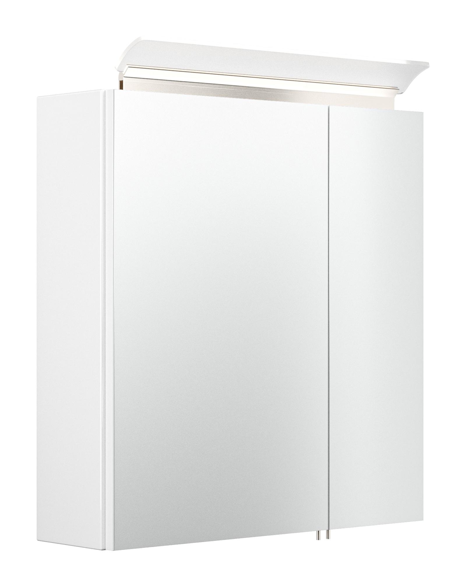 Saniclear Rocky 60cm spiegelkast met design LED verlichting glans wit
