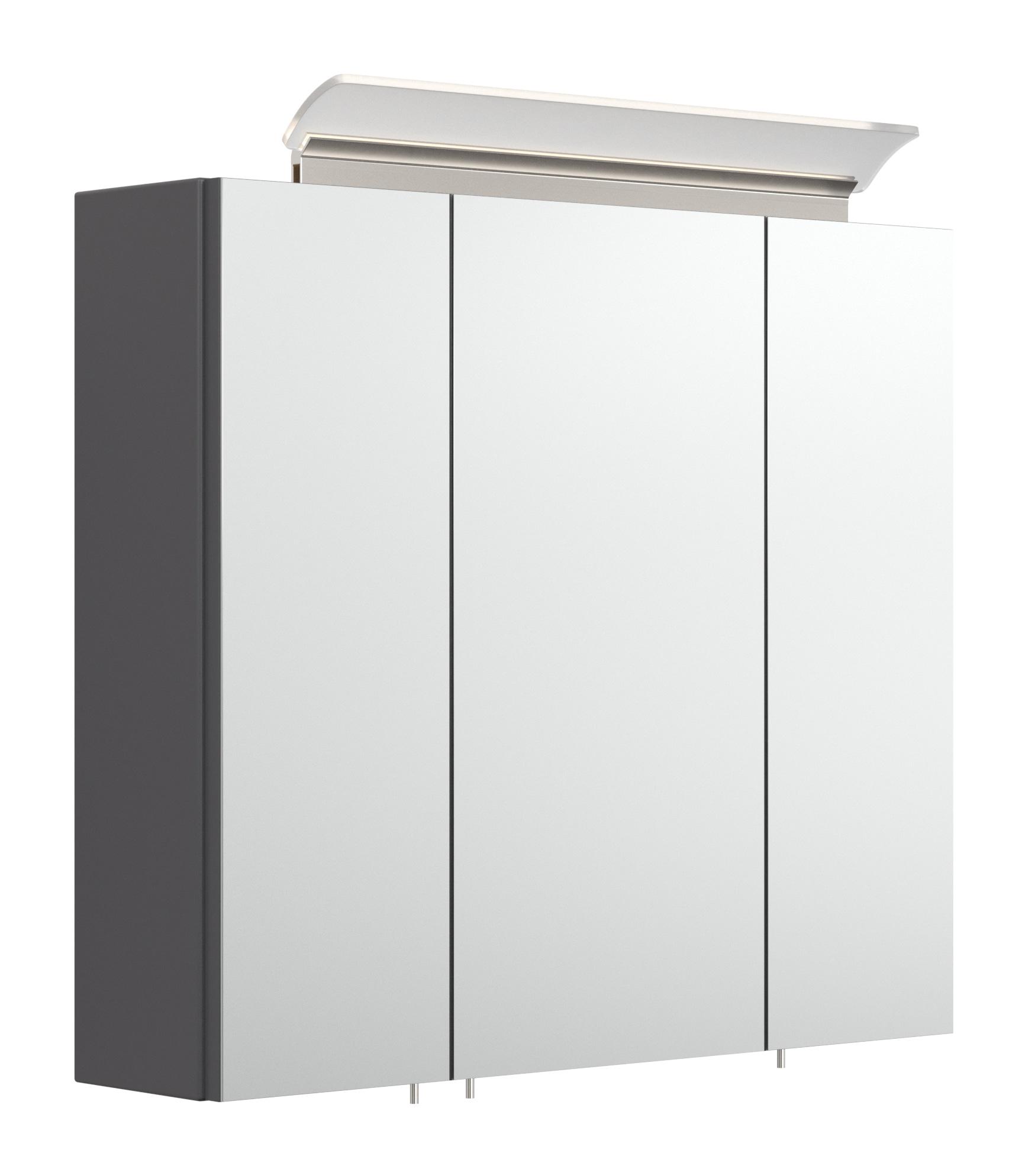 Saniclear Rocky 70cm spiegelkast met design LED verlichting glans antraciet