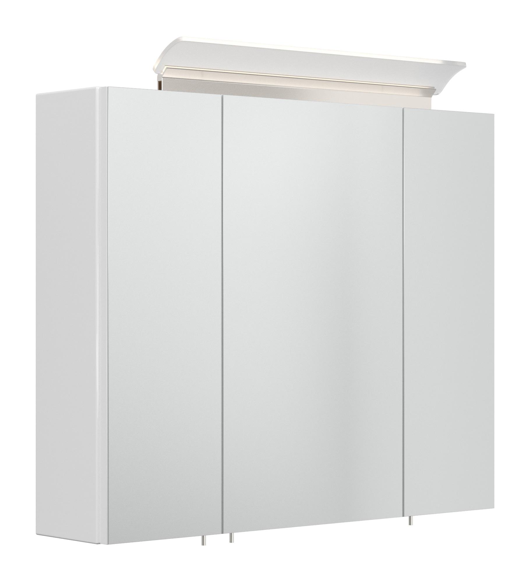 Saniclear Rocky 75cm spiegelkast met design LED verlichting glans wit