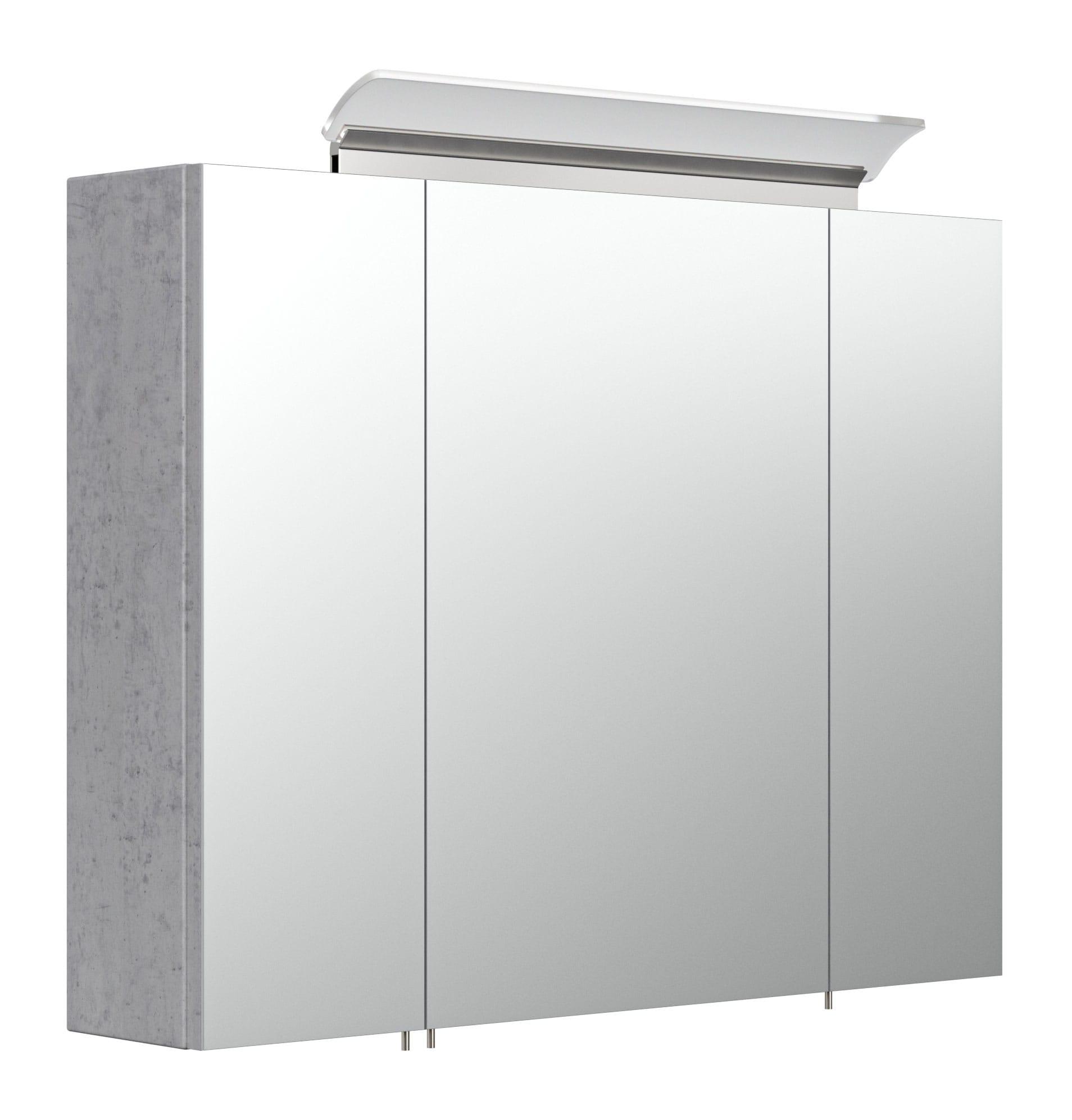 Saniclear Rocky 80cm spiegelkast met design LED verlichting beton grijs