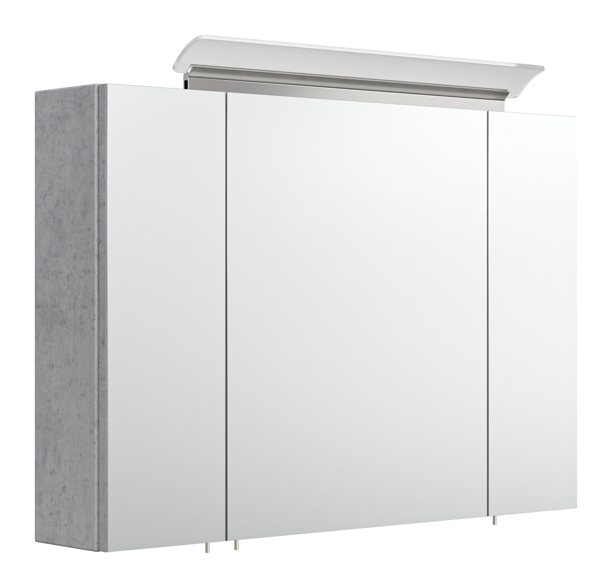 Saniclear Rocky 90cm spiegelkast met design LED verlichting beton grijs
