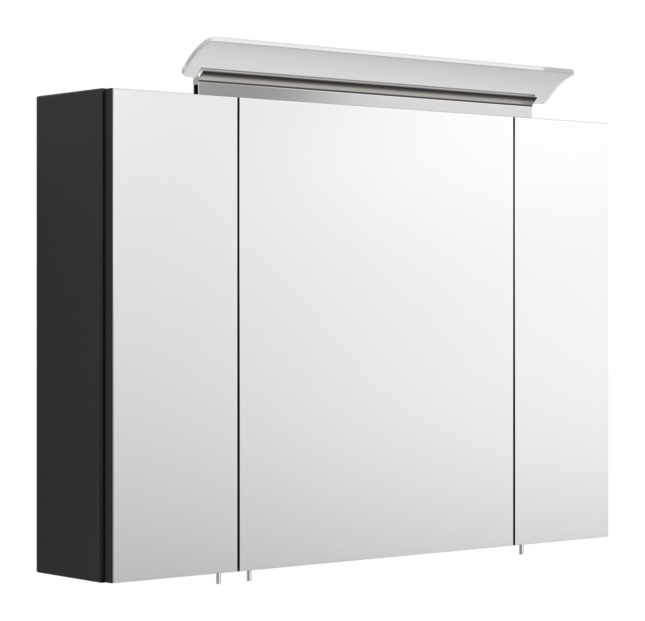 Saniclear Rocky 90cm spiegelkast met design LED verlichting glans zwart