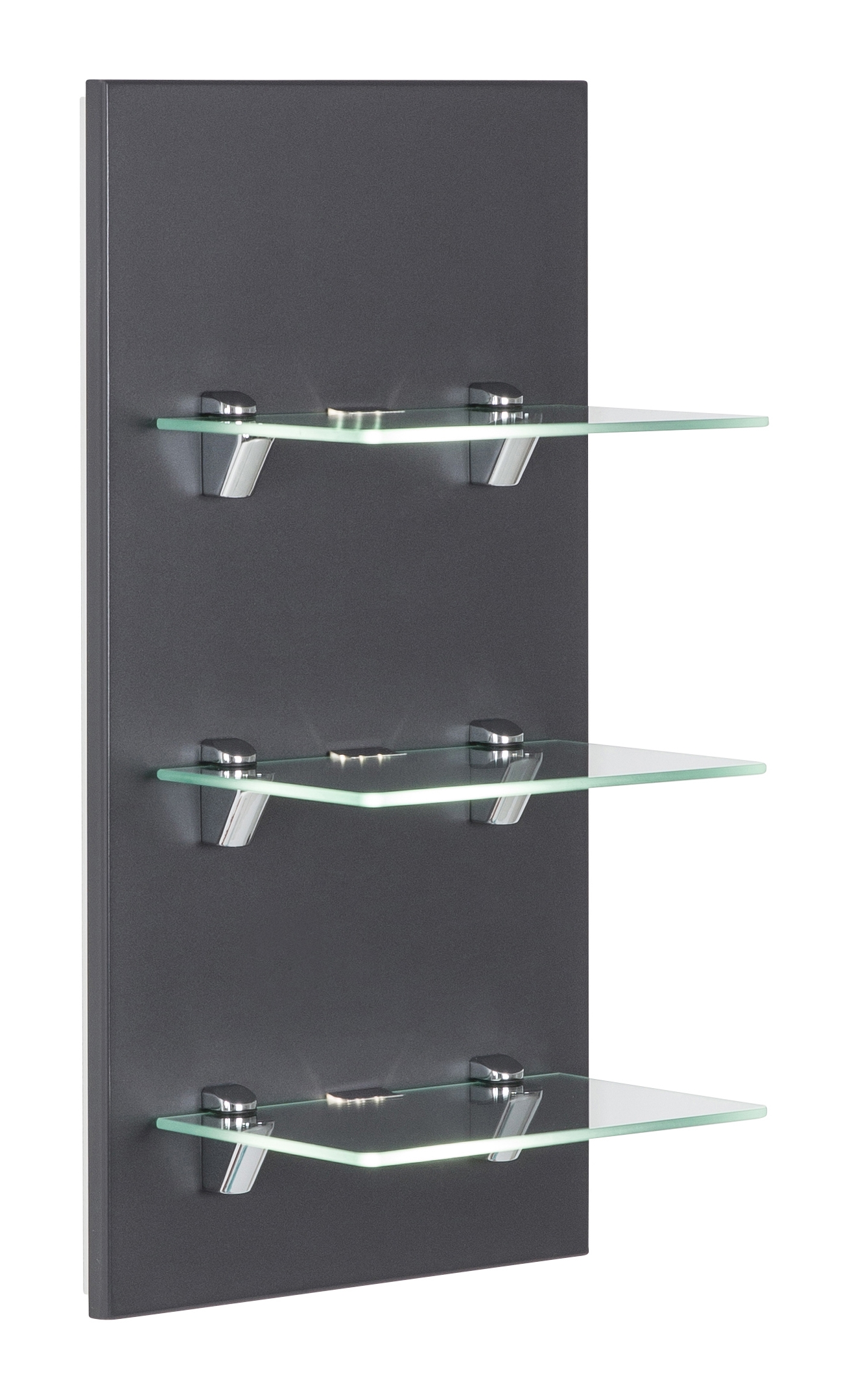 Saniclear Viva open kast met glazen planken en led verlichting 68cm antraciet