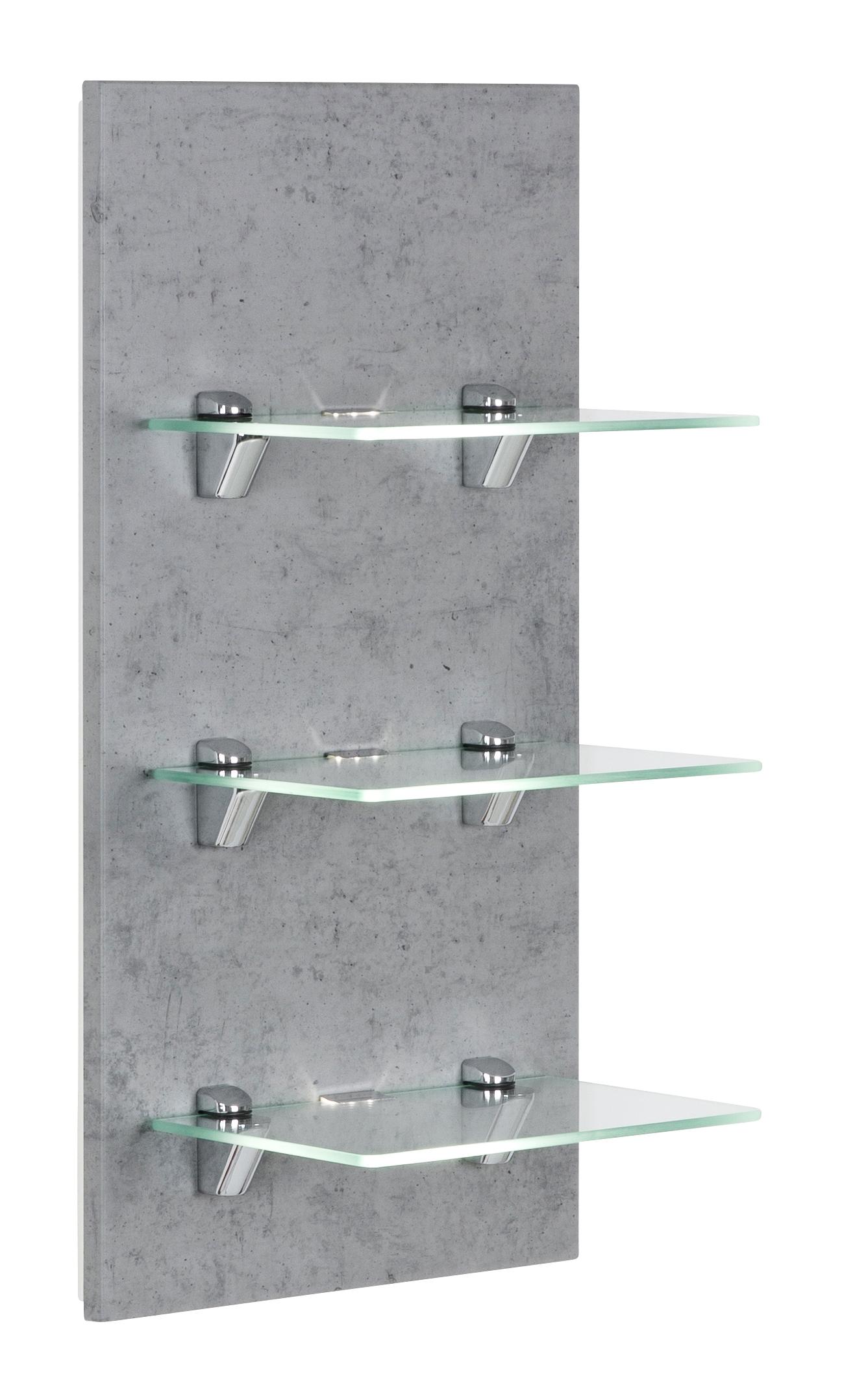saniclear viva open kast met glazen planken en led verlichting 68cm betongrijs