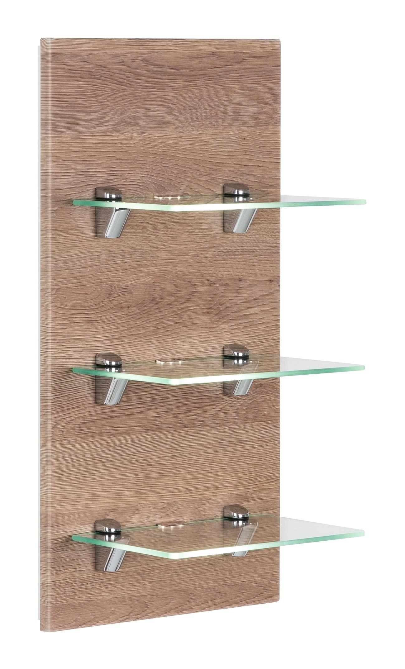 Saniclear Viva open kast met glazen planken en led verlichting 68cm licht eiken