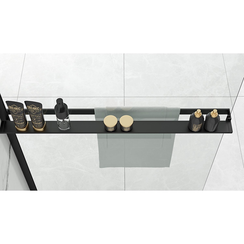 Sanigoods Obby inkortbaar handdoekrek - planchet voor douchewand mat zwart 120cm