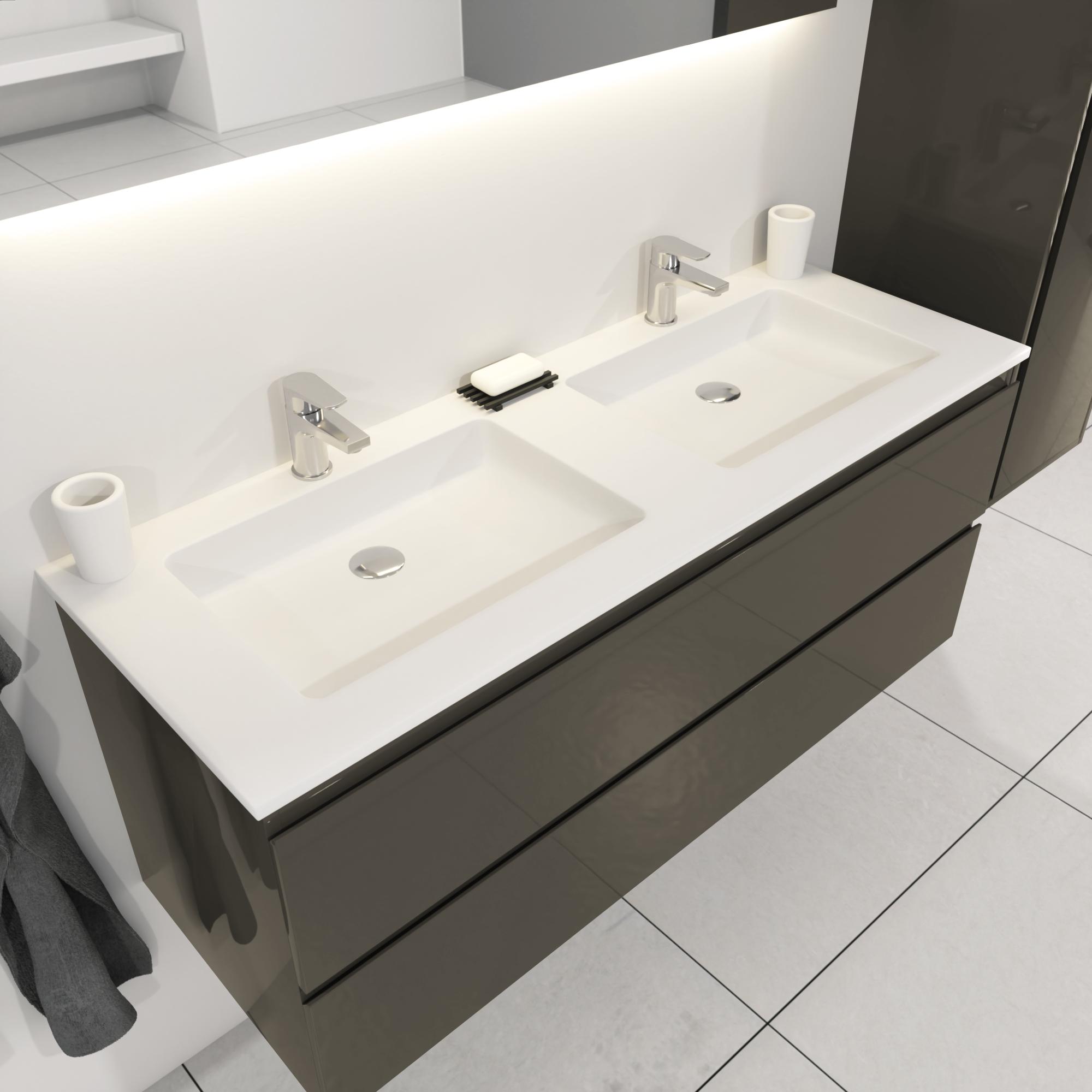 SaniGoods Sally badkamermeubel 120cm grijs glans met dubbele Solid Surface wastafel rechthoek
