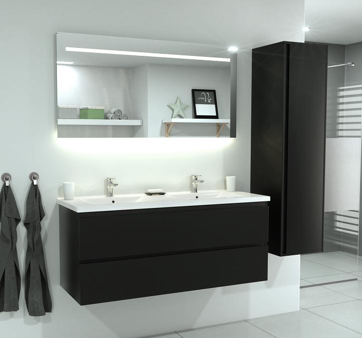 SaniGoods Sally badkamermeubel 120cm mat zwart met keramische wastafel