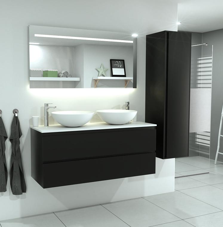 SaniGoods Sally badkamermeubel 120cm mat zwart met ronde waskom
