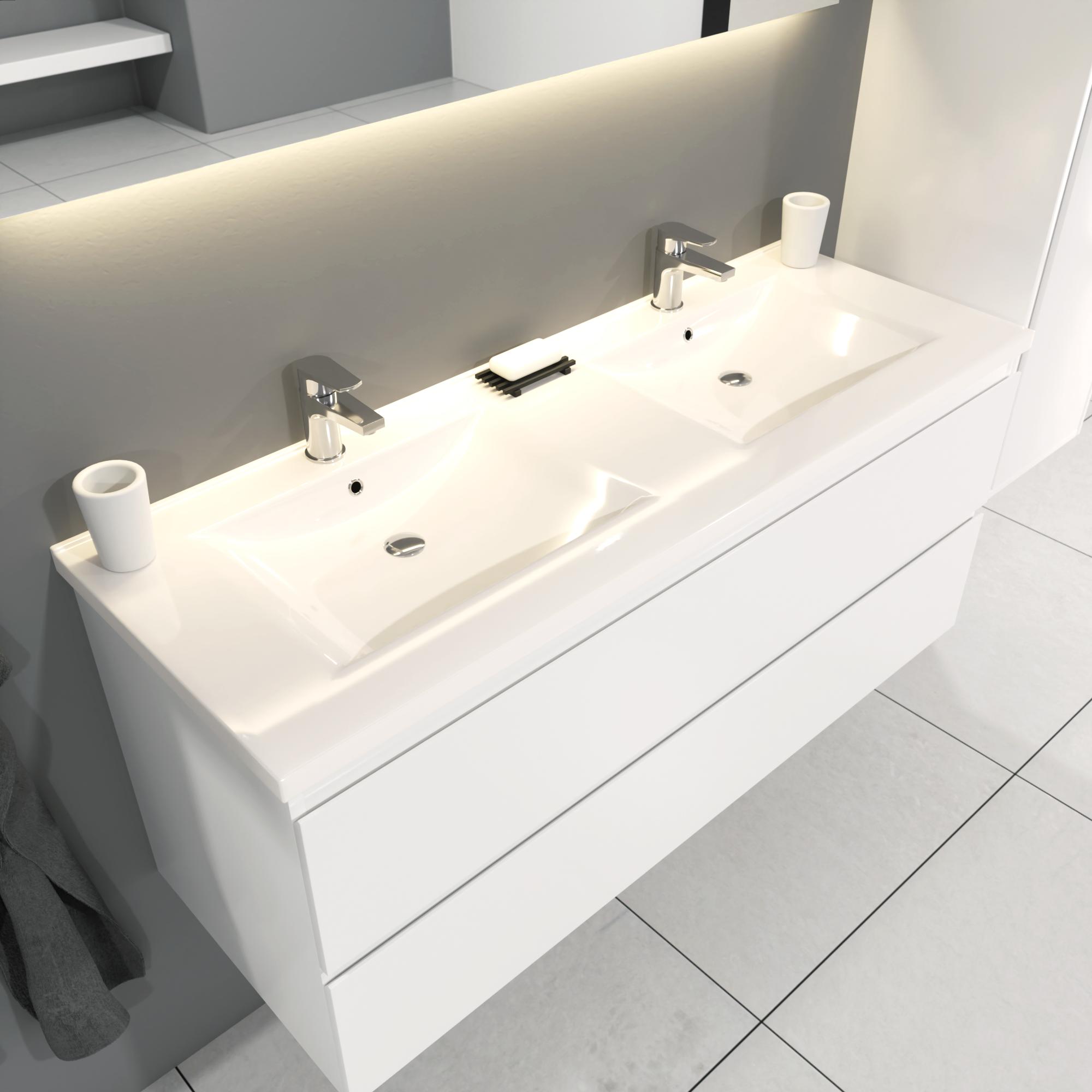 SaniGoods Sally badkamermeubel 120cm wit glans met dubbele keramische wastafel
