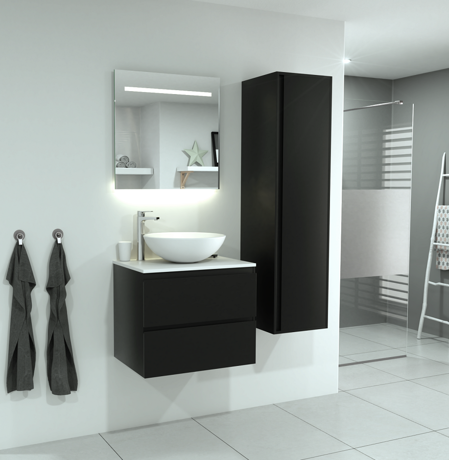 SaniGoods Sally badkamermeubel 60cm mat zwart met ronde waskom