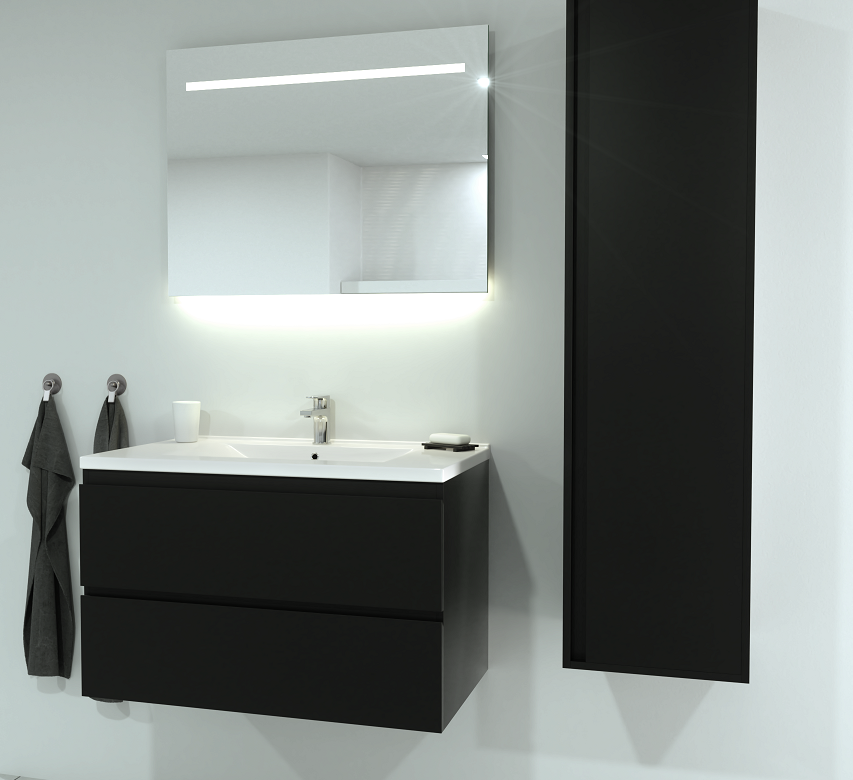 SaniGoods Sally badkamermeubel 80cm mat zwart met keramische wastafel
