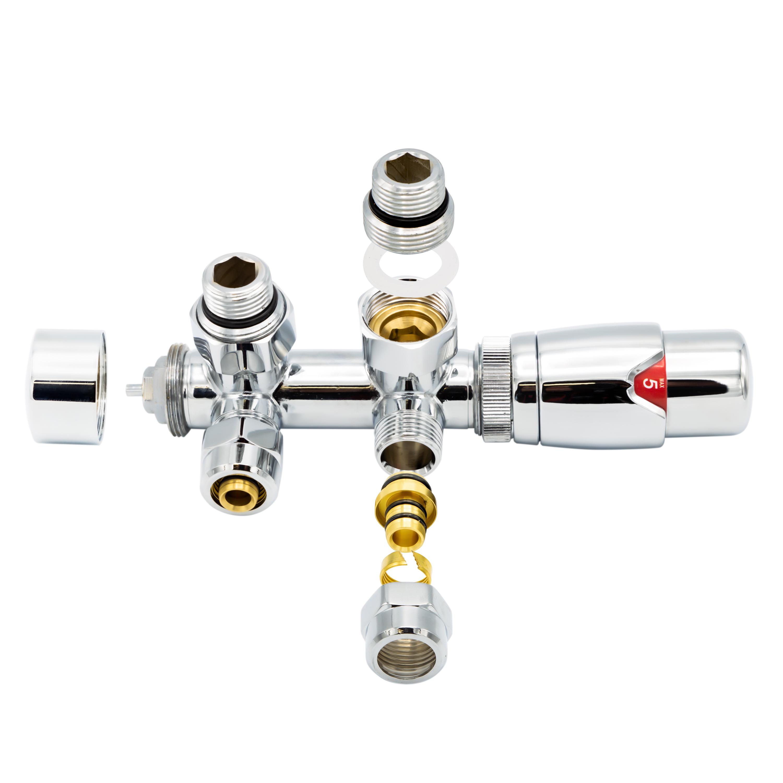 SaniGoods thermostatische radiatorkraan haaks 1/2x16 M30 chroom