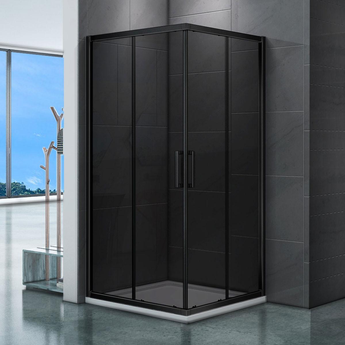 SaniGoods Torino Douchecabine 100x100 vierkant zwart rookglas