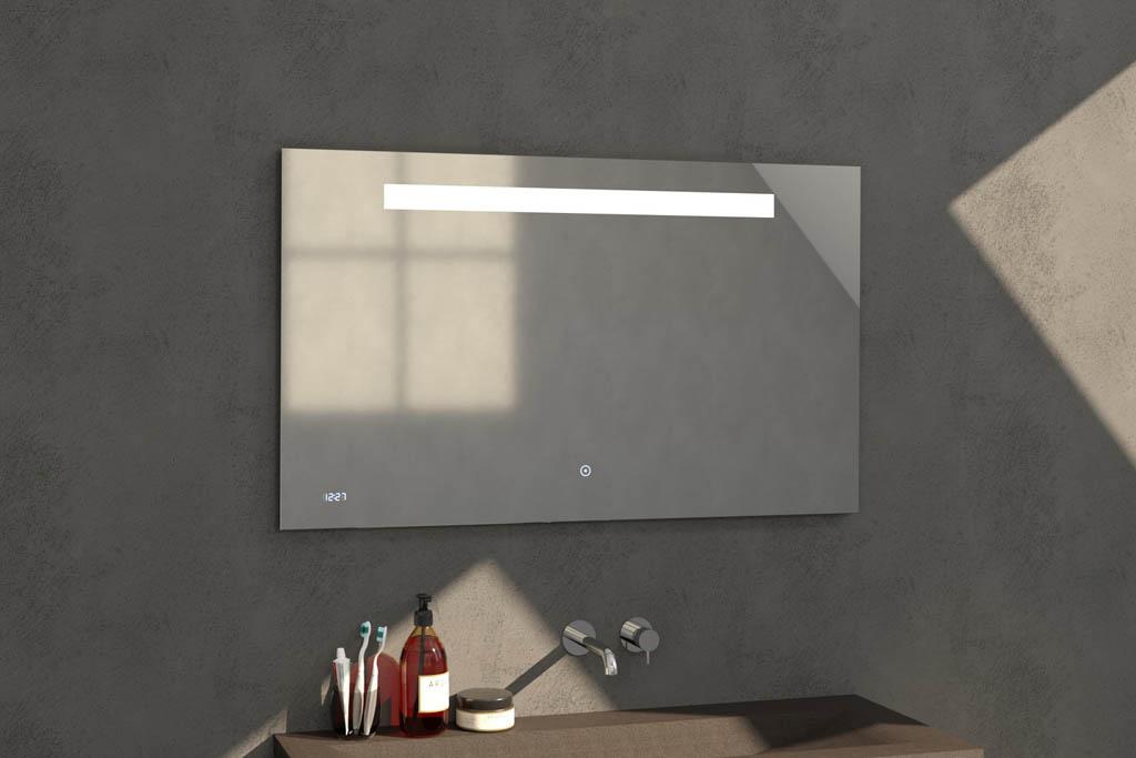 Sanituba Clock spiegel 120×70 met LED verlichting en klok Aluminium Geborsteld kopen doe je het voordeligst hier