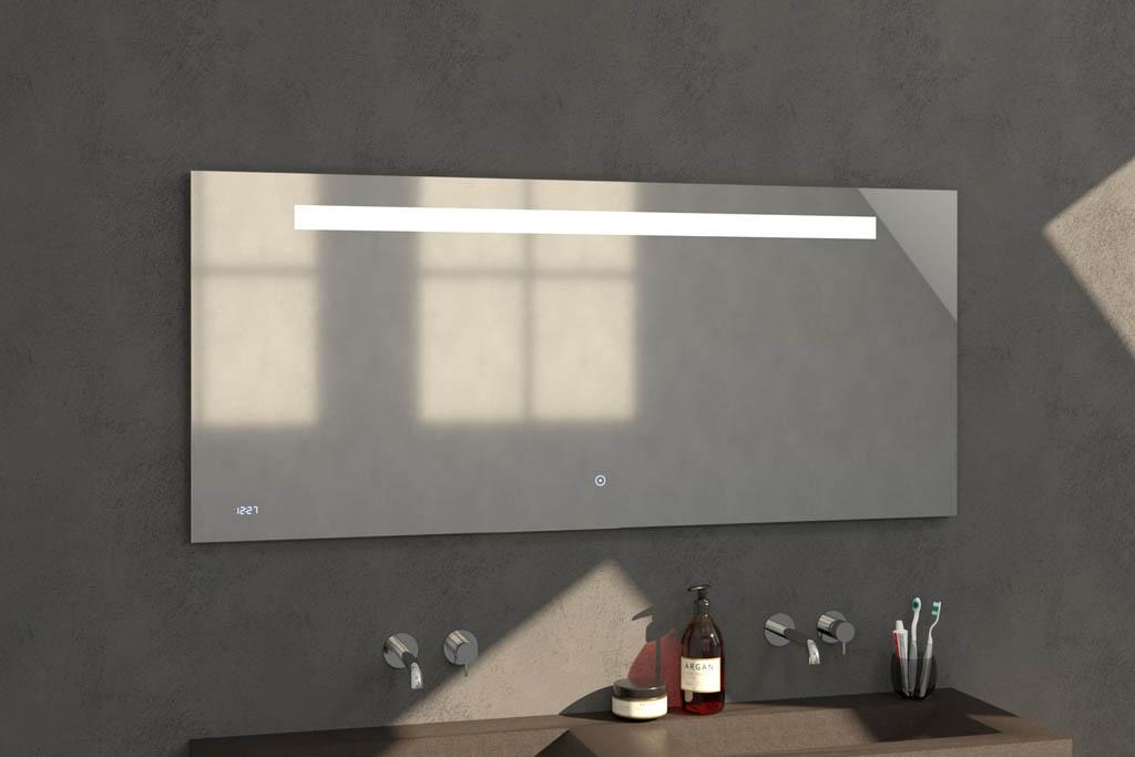 Sanituba Clock spiegel 160×70 met LED verlichting en klok Aluminium Geborsteld kopen doe je het voordeligst hier