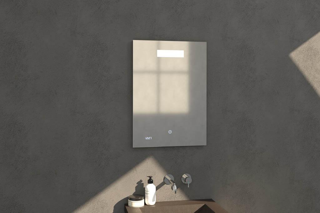 Sanituba Clock spiegel 50×70 met LED verlichting en klok Aluminium Geborsteld kopen doe je het voordeligst hier