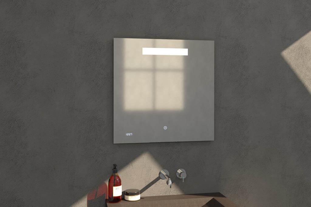Sanituba Clock spiegel 70×70 met LED verlichting en klok Aluminium Geborsteld kopen doe je het voordeligst hier