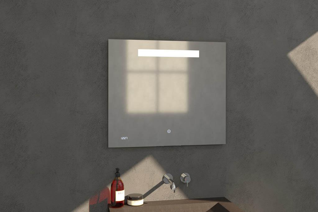 Sanituba Clock spiegel 80×70 met LED verlichting en klok Aluminium Geborsteld kopen doe je het voordeligst hier