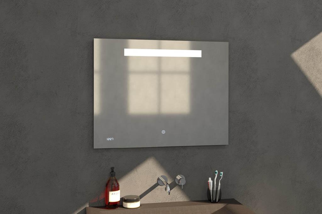 Sanituba Clock spiegel 90×70 met LED verlichting en klok Aluminium Geborsteld kopen doe je het voordeligst hier